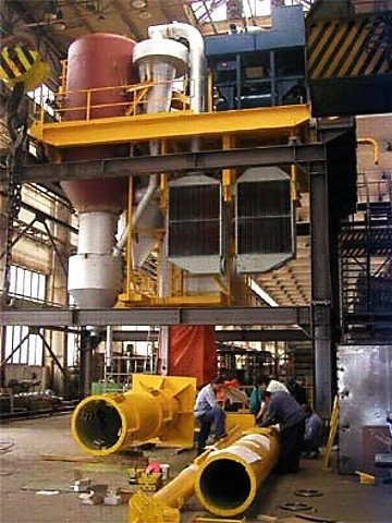 Crane for production and manipulation of anodes in the production aluminium